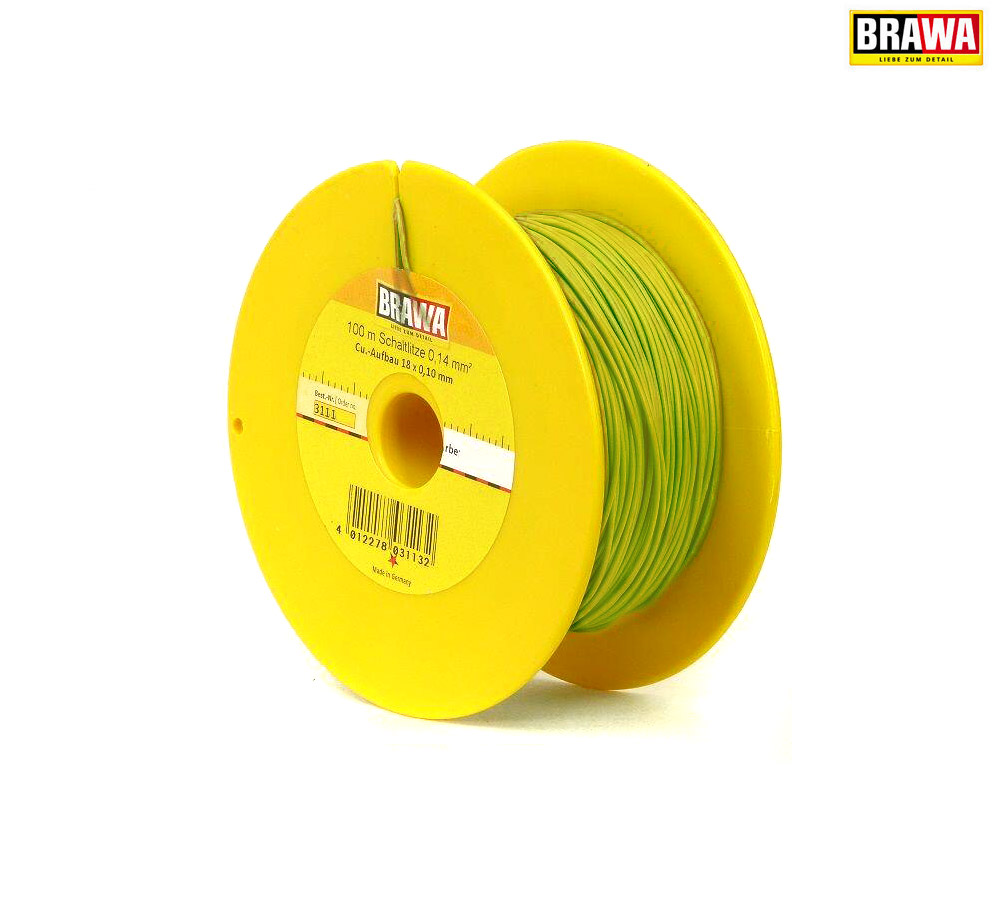 giallo + 100 M BOBINA NUOVO BRAWA 3111 trefolo 0,14 mm²
