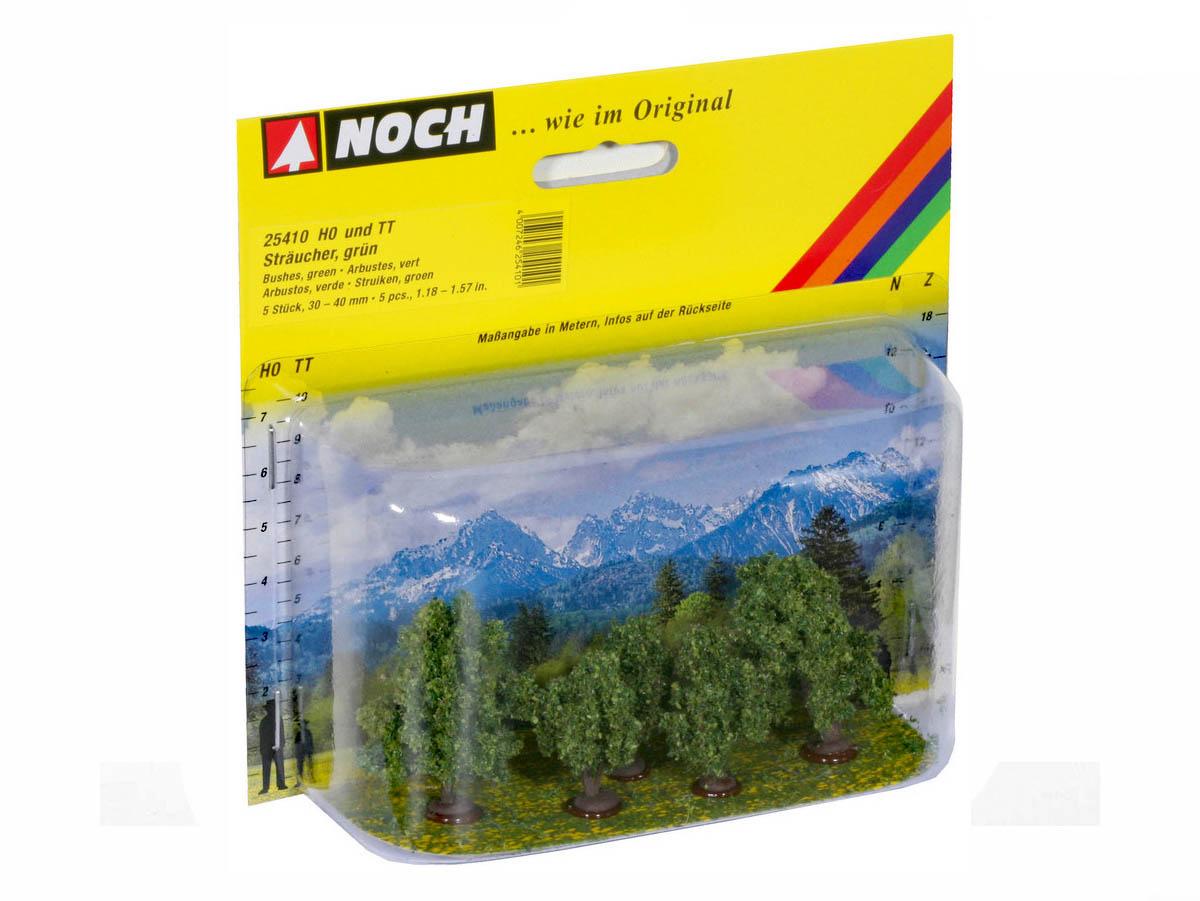NOCH 25410 Sträucher, grün, 5 Stück, 3 - 4 cm hoch ++ NEU in OVP